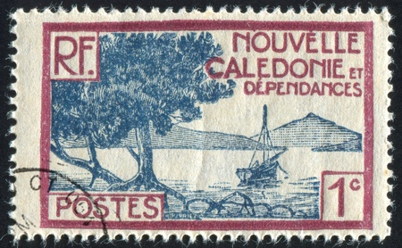 NEW CALEDONIA - CIRCA 1928: stamp printed by New Caledonia, shows Bay of Paletuviers Point, circa 1928 Stock Photo - 12732144