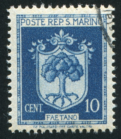 SAN MARINO - CIRCA 1945: stamp printed by San Marino, shows Coat of Arms of Faetano, circa 1945 Stock Photo - 12743212