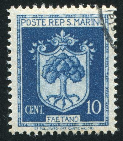 SAN MARINO - CIRCA 1945: stamp printed by San Marino, shows Coat of Arms of Faetano, circa 1945 Stock Photo - 12743212