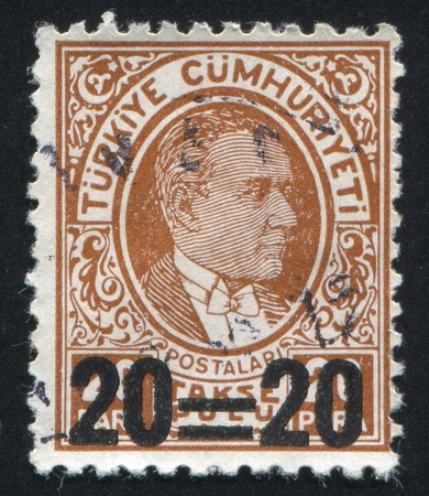 TURKEY - CIRCA 1936: stamp printed by Turkey, shows president Kemal Ataturk, circa 1936. Stock Photo - 12734516