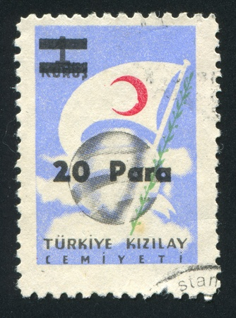 TURKEY- CIRCA 1954: stamp printed by Turkey, shows globe and flag, circa 1954 photo