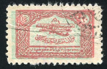 TURKEY- CIRCA 1923: stamp printed by Turkey, shows aeroplane, circa 1923 photo
