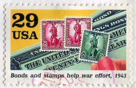 UNITED STATES - CIRCA 1993: stamp printed by United States, shows Bonds and stamps help war effort, circa 1993 Stock Photo - 12732142