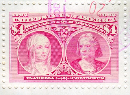 UNITED STATES - CIRCA 1992: stamp printed by United States, shows Isabella and Columbus, circa 1992 Stock Photo - 12732238