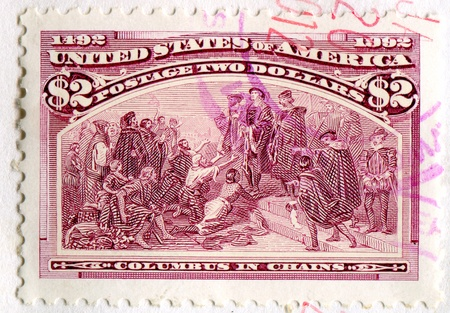 UNITED STATES - CIRCA 1992: stamp printed by United States, shows Columbus in Chains, circa 1992 photo