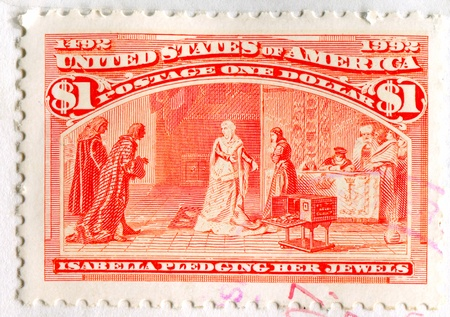 UNITED STATES - CIRCA 1992: stamp printed by United States, shows Isabella Pledging her Jewels, circa 1992 Stock Photo - 12732242