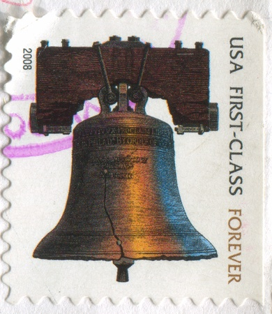 liberty bell: UNITED STATES - CIRCA 2008: stamp printed by United States, shows Liberty Bell, circa 2008