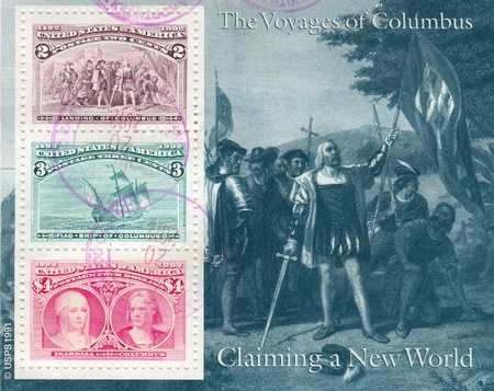 christopher columbus: UNITED STATES - CIRCA 1992: stamp printed by United States, shows Voyages of Columbus, circa 1992 Editorial