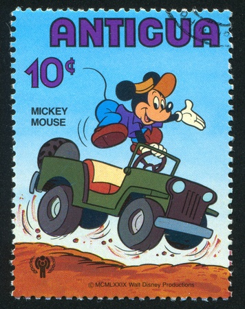 ANTIGUA - CIRCA 1980: stamp printed by Antigua, shows Disney Characters, Mickey mouse, circa 1980