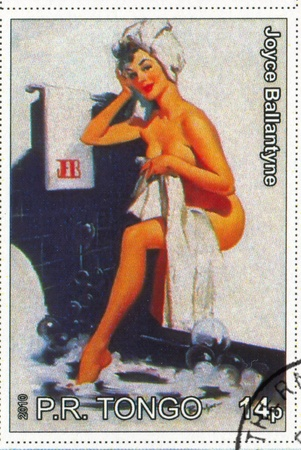 postmark: TONGO - CIRCA 2010: Stempel von Tongo gedruckt, zeigt Pin-up-M�dchen, von Joyce Ballantyne, circa 2010