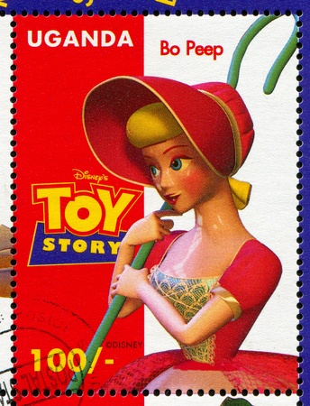 UGANDA - CIRCA 1997: stamp printed by Uganda, shows Toy Story, Bo Peep, circa 1997. Editorial
