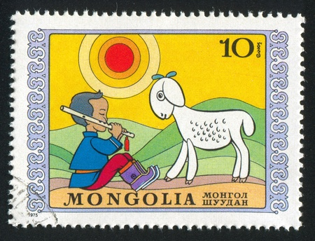 MONGOLIA - CIRCA 1975: stamp printed by Mongolia, shows shepherd, circa 1975 Stock Photo - 12789754