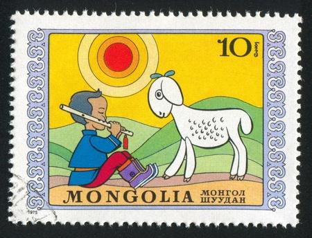 MONGOLIA - CIRCA 1975: stamp printed by Mongolia, shows shepherd, circa 1975 Stock Photo - 12789754