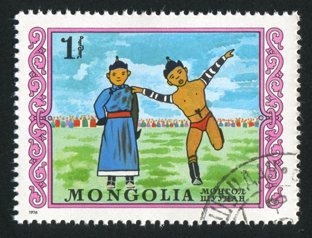perfomance: MONGOLIA - CIRCA 1976: stamp printed by Mongolia, shows mongolian wresting, perfomance, circa 1976