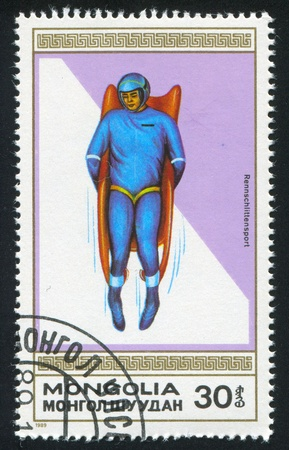 MONGOLIA - CIRCA 1989: stamp printed by Mongolia, shows luge, circa 1989 Stock Photo - 12785967
