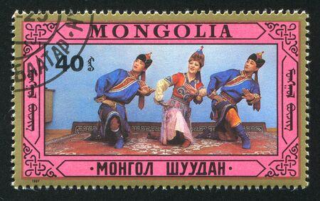 MONGOLIA - CIRCA 1987: stamp printed by Mongolia, shows Folk Dances, circa 1987 photo