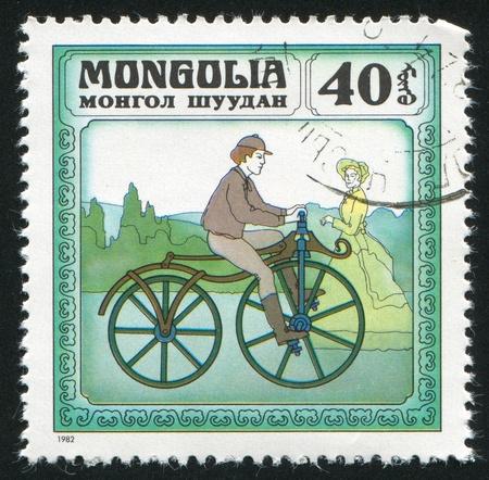 MONGOLIA - CIRCA 1982: stamp printed by Mongolia, shows Historic Bicycles, circa 1982 Stock Photo - 12789752
