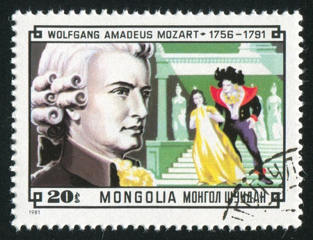 amadeus: MONGOLIA - CIRCA 1981: stamp printed by Mongolia, shows Composer Wolfgang Amadeus Mozart and Scene from his Magic Flute, circa 1981