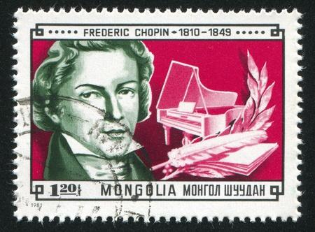 frederic chopin: MONGOLIA - CIRCA 1981: stamp printed by Mongolia, shows Composer Chopin, piano, circa 1981 Editorial