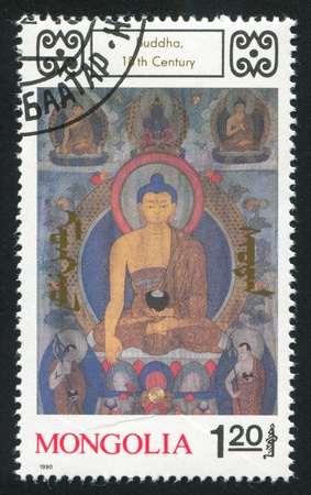 deities: MONGOLIA - CIRCA 1990: stamp printed by Mongolia, shows Buddhist Deities, circa 1990