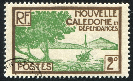 NEW CALEDONIA - CIRCA 1928: stamp printed by New Caledonia, shows Bay of Paletuviers Point, circa 1928 Stock Photo - 12786965