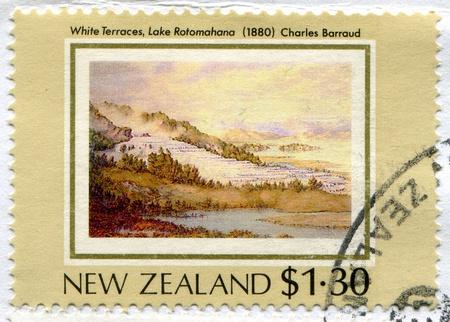 NEW ZEALAND - CIRCA 1988: stamp printed by New Zealand, shows White Terraces, Lake Rotomahana,  by Charles Barraud, circa 1988 photo