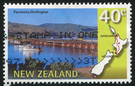 NEW ZEALAND - CIRCA 1997: stamp printed by New Zealand, shows Overlander scenic train, Paremata, Wellington, Wellington-Auckland, circa 1997