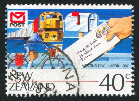 vesting: NEW ZEALAND - CIRCA 1987: stamp printed by New Zealand, shows Vesting Day, Train, bicycle, circa 1987