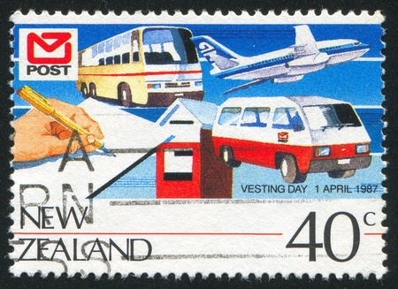 vesting: NEW ZEALAND - CIRCA 1987: stamp printed by New Zealand, shows Vesting Day, Motor vehicles, plane circa 1987 Editorial