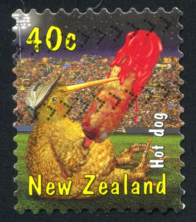NEW ZEALAND - CIRCA 2000: stamp printed by New Zealand, shows Kiwi with Hot dog, circa 2000