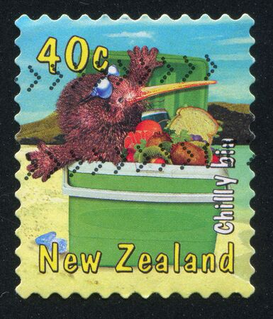 NEW ZEALAND - CIRCA 2000: stamp printed by New Zealand, shows Kiwi with Insulated cooler, circa 2000