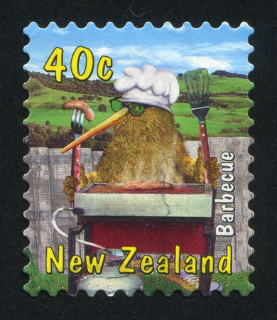 NEW ZEALAND - CIRCA 2000: stamp printed by New Zealand, shows Kiwi with Barbecue, circa 2000