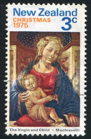 NEW ZEALAND - CIRCA 1975: stamp printed by New Zealand, shows Virgin and Child, by Zanobi Machiavelli, circa 1975 Stock Photo - 12785966