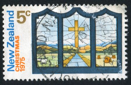 NEW ZEALAND - CIRCA 1975: stamp printed by New Zealand, shows Stained Glass Window, circa 1975 photo