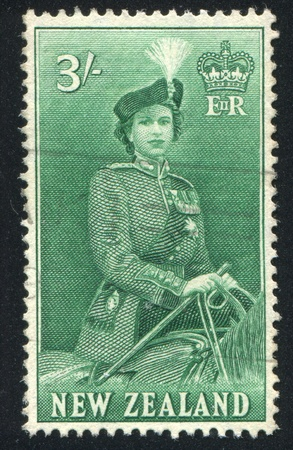 NEW ZEALAND - CIRCA 1953: stamp printed by New Zealand, shows Visit of Queen Elizabeth II, circa  1953