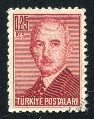 mustafa: TURKEY - CIRCA 1948: stamp printed by Turkey, shows Mustafa Ismet Inonu, President, circa 1948.