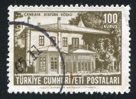 TURKEY - CIRCA 1963: stamp printed by Turkey, shows home of Ataturk, Cankaya, circa 1963 photo