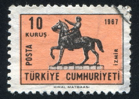 TURKEY- CIRCA 1967: stamp printed by Turkey, shows statue Ataturk of horse, circa 1967