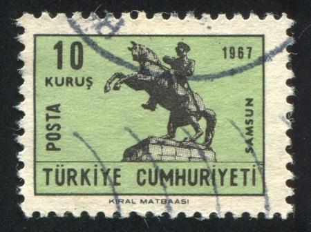 TURKEY- CIRCA 1967: stamp printed by Turkey, shows statue Ataturk of horse, circa 1967 photo