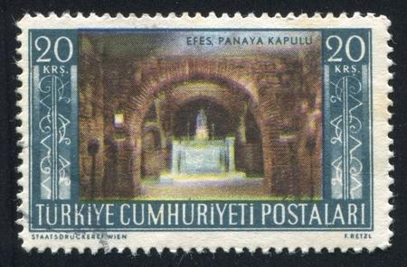 TURKEY - CIRCA 1953: stamp printed by Turkey, shows Shrine of Virgin Mary, Panaya Kapulu, circa 1953 Stock Photo - 12787186