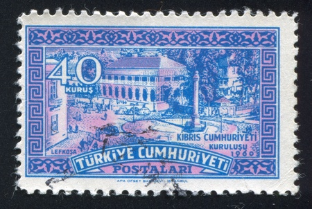 TURKEY - CIRCA 1960: stamp printed by Turkey, shows Ataturk Square, Nicosia, circa 1960 photo