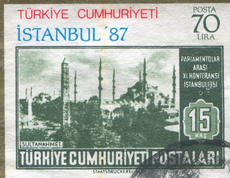 TURKEY - CIRCA 1951: stamp printed by Turkey, shows Mosque of  Sultan Ahmed, Istanbul, circa 1951 Stock Photo - 12787112