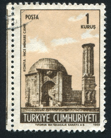 TURKEY - CIRCA 1969: stamp printed by Turkey, shows Ince Minare Mosque, Konya, circa 1969 Stock Photo - 12787683