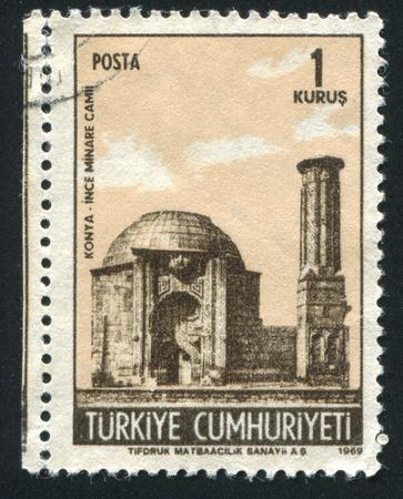 TURKEY - CIRCA 1969: stamp printed by Turkey, shows Ince Minare Mosque, Konya, circa 1969 Stock Photo - 12787683