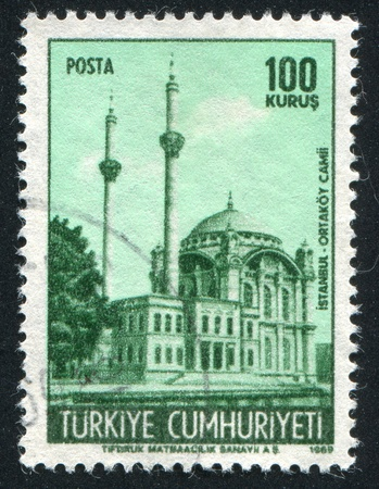 TURKEY - CIRCA 1969: stamp printed by Turkey, shows Ortakoy Mosque, Istanbul, circa 1969 photo