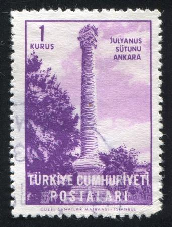 TURKEY - CIRCA 1963: stamp printed by Turkey, shows Julian's Column, Ankara, circa 1963 Stock Photo - 12787412