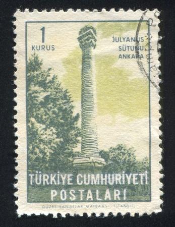 TURKEY - CIRCA 1963: stamp printed by Turkey, shows Julian's Column, Ankara, circa 1963 Stock Photo - 12787801