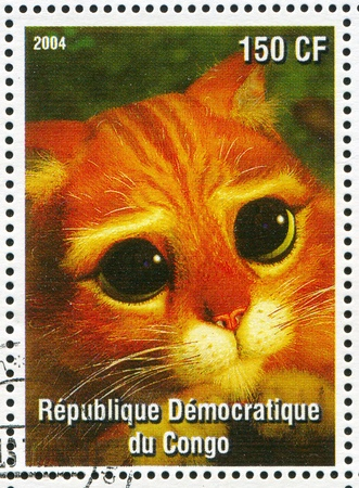 puss: CONGO - CIRCA 2004: stamp printed by Congo, shows cartoon character Shrek, Puss in Boots, circa 2004