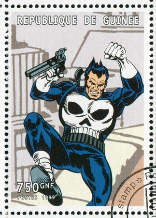 punisher: GUINEA - CIRCA 1999: stamp printed by Guinea, shows Punisher, circa 1999