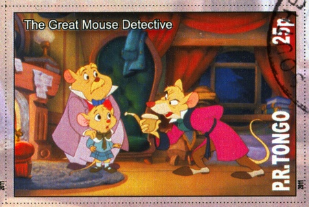 TONGO - CIRCA 2011: stamp printed by Tongo, shows Walt Disney cartoon character, The great mouse detective, circa 2011